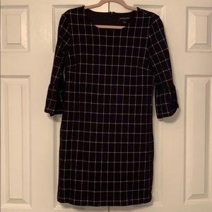 Black & White Checkered Cotton Blend Dress